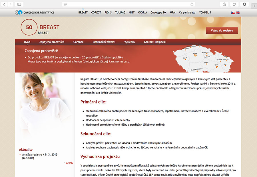 Breast: Klinický registr pacientek s karcinomem prsu, které jsou léčeny trastuzumabem, lapatinibem, bevacizumabem a/nebo everolimem