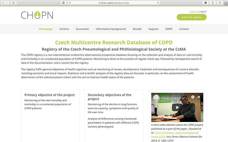 CHOPN registry: epidemiological database of COPD patients in the Czech Republic