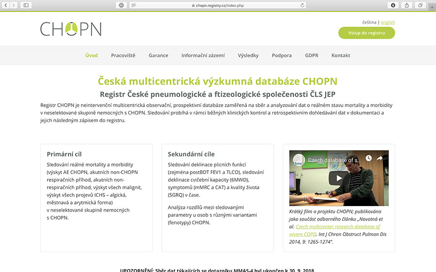 registr CHOPN: výzkumná a epidemiologická databáze pacientů s CHOPN