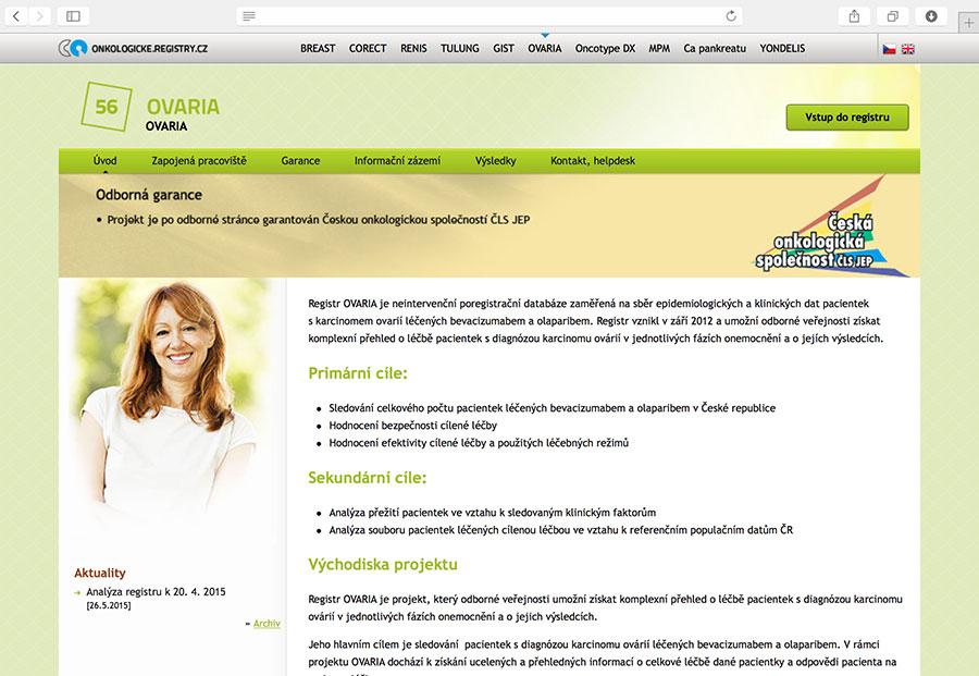 OVARIA: klinický registr pacientek s karcinomem ovarií, které jsou léčeny bevacizumabem a/nebo olaparibem