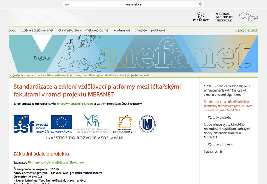 Standardisation and sharing of educational platform among medical faculties in the MEFANET project